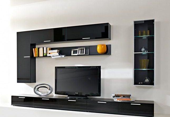 černá obývací stěna
